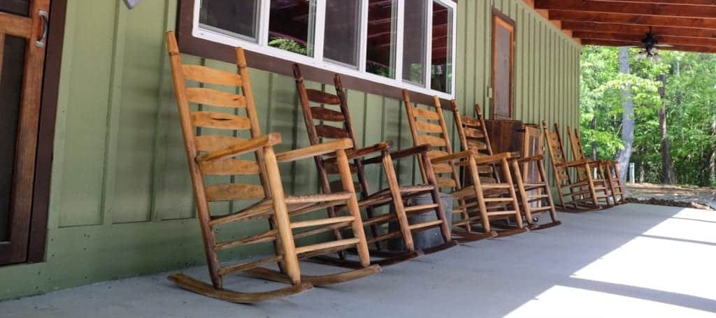 A row of rocking chairs at Greenbrier Campground in the Smoky Mountains.