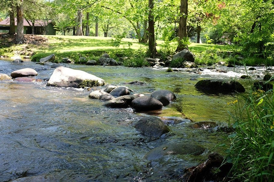 Rocks in the river at Greenbrier Campground.