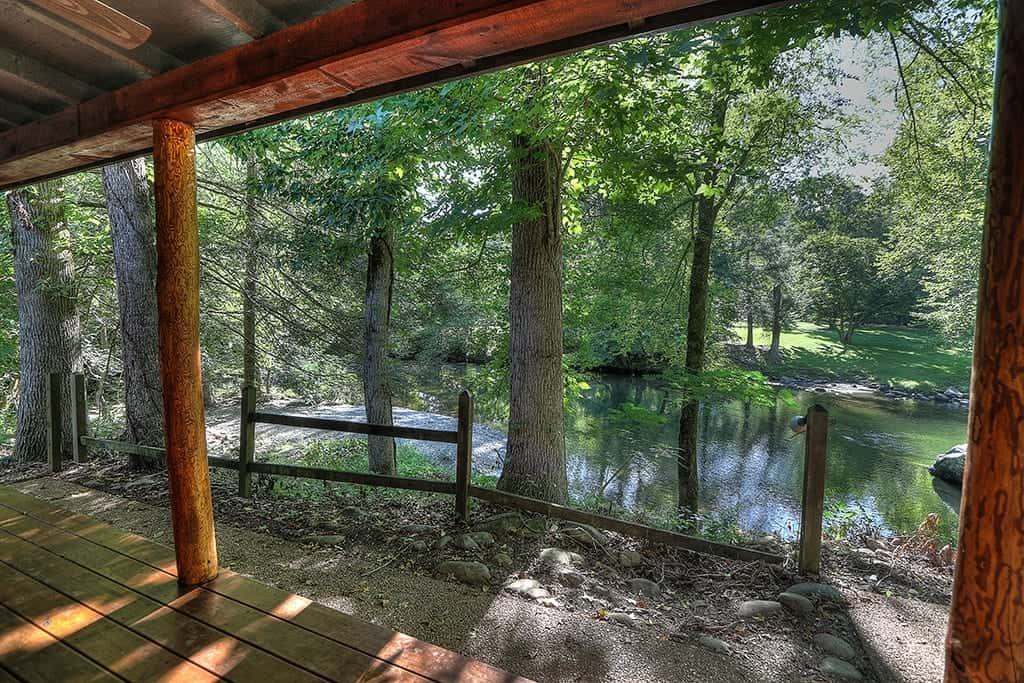 Stunning view of the Little Pigeon River from the Flint Rock Cabin at Greenbrier Campground.