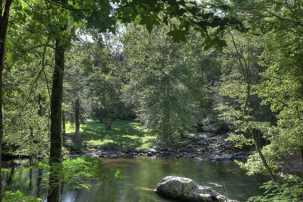 Beautiful photo of the Little Pigeon River at Greenbrier Campground in the Smoky Mountains.