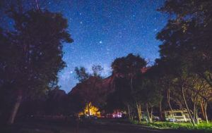 Gatlinburg campground at night with stars shining above