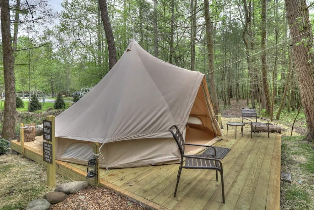 Bell tent at Greenbrier Campground in Smoky Mountains