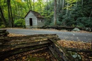 Historic roadside mill on the Roaring Fork Motor Nature Trail in the Great Smoky Mountains National Park
