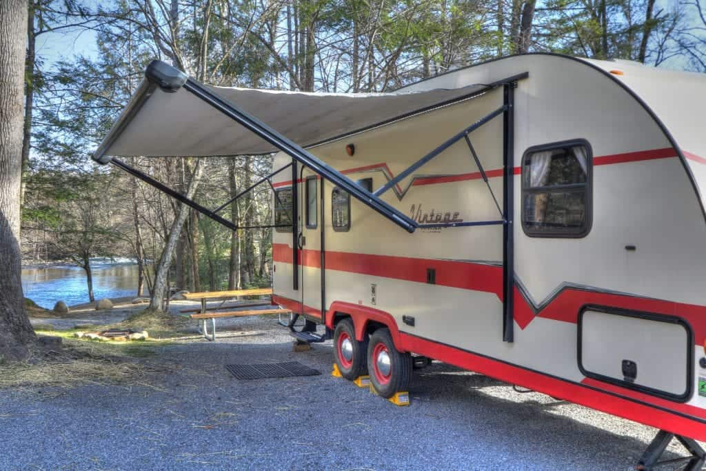 rv set up near a creek