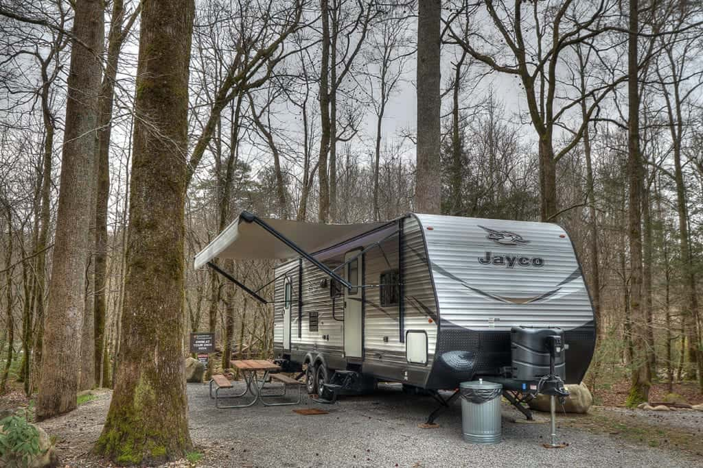 rv parked at a camp site in the smoky mountains