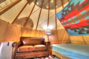 couch in the camping tipi